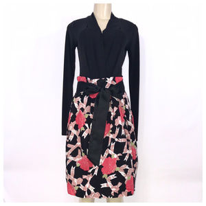 Black Multi-Color Floral Midi Skirt Medium